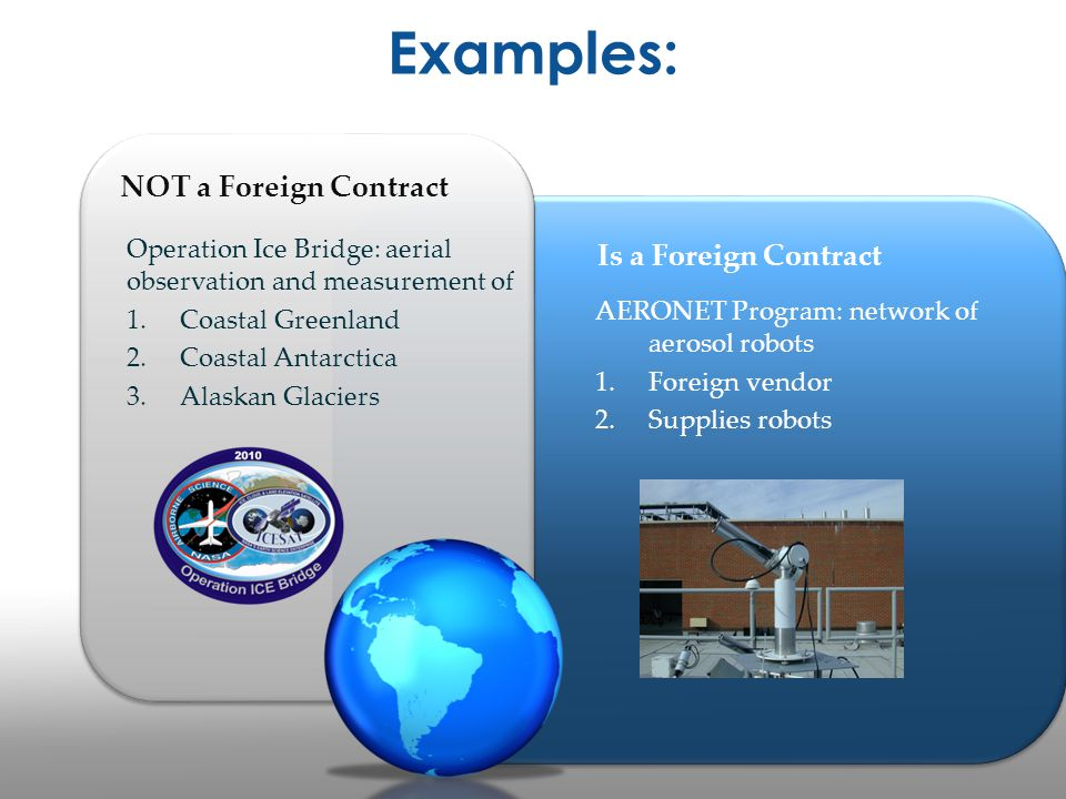 Examples: NOT a Foreign Contract Is a Foreign Contract