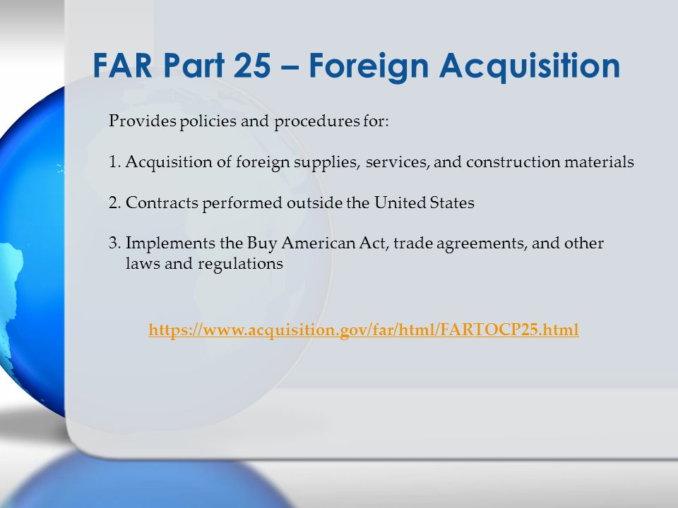 FAR Part 25 – Foreign Acquisition