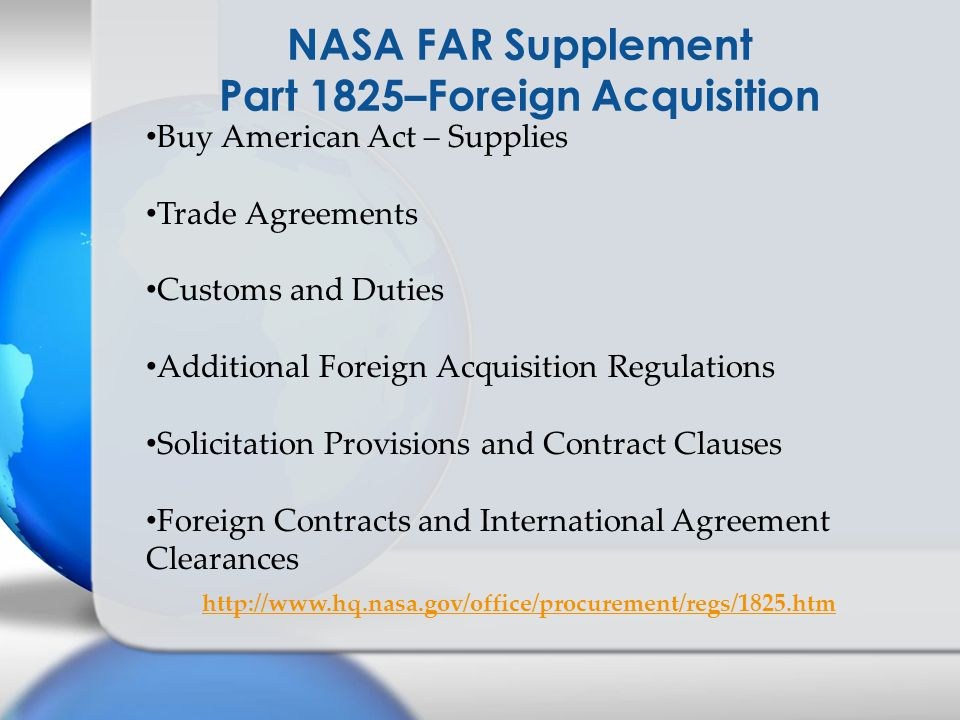 NASA FAR Supplement Part 1825–Foreign Acquisition