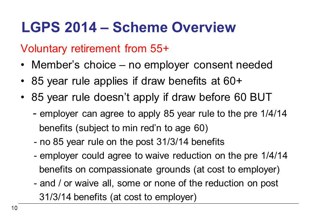 LGPS 2014 – Scheme Overview Voluntary retirement from 55+