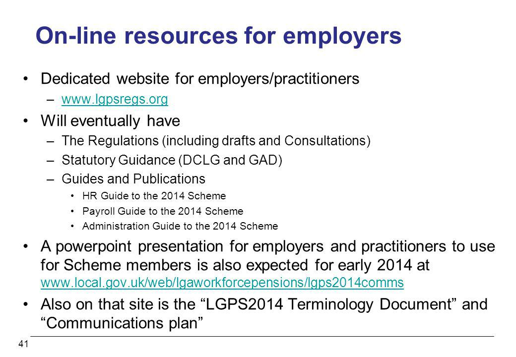 On-line resources for employers