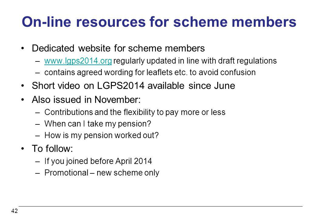 On-line resources for scheme members