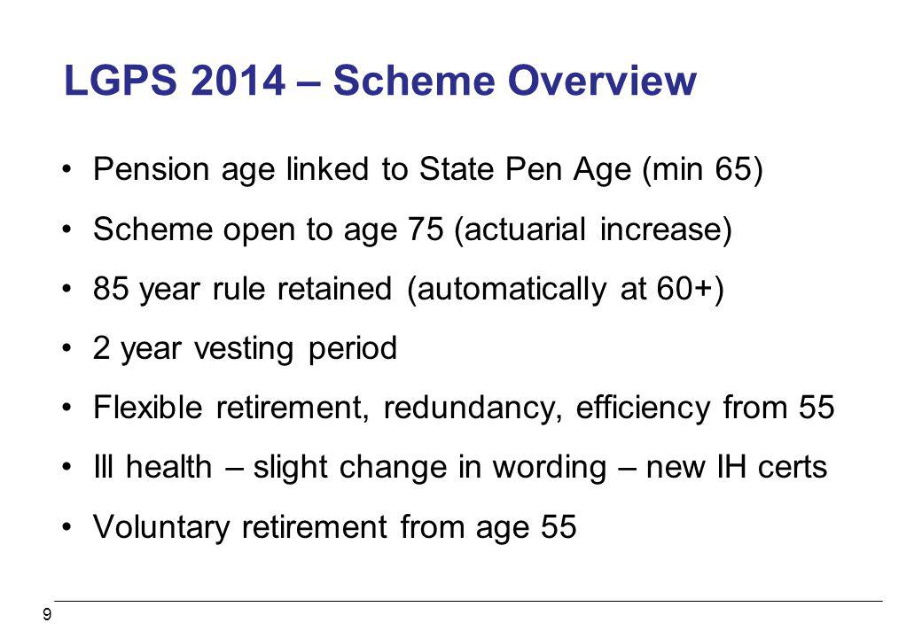 LGPS 2014 – Scheme Overview Pension age linked to State Pen Age (min 65) Scheme open to age 75 (actuarial increase)