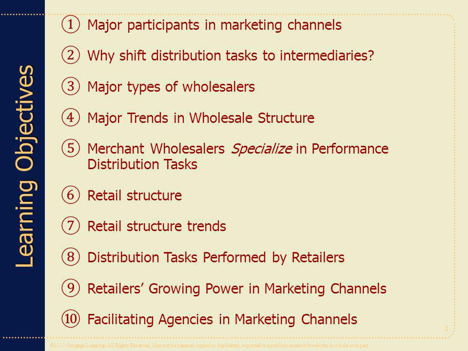 Major participants in marketing channels