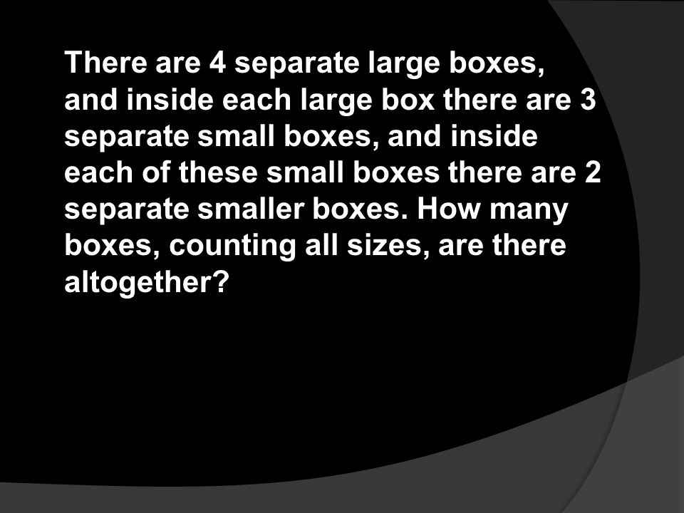 There are 4 separate large boxes, and inside each large box there are 3 separate small boxes, and inside each of these small boxes there are 2 separate smaller boxes.
