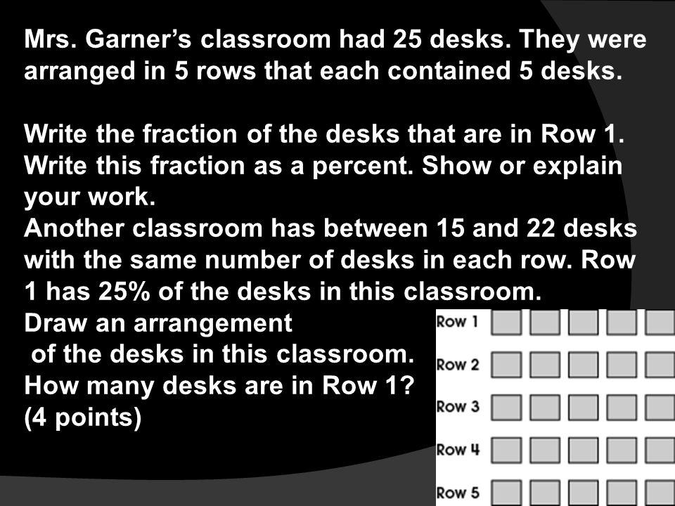 Mrs. Garner's classroom had 25 desks