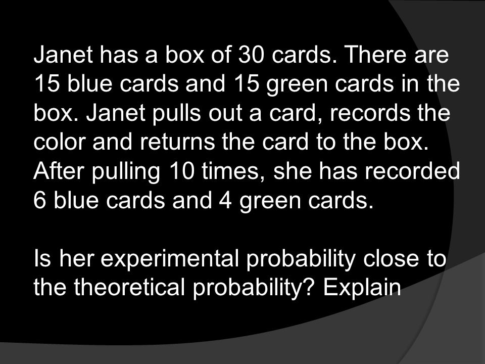 Janet has a box of 30 cards. There are 15 blue cards and 15 green cards in the box. Janet pulls out a card, records the color and returns the card to the box. After pulling 10 times, she has recorded 6 blue cards and 4 green cards.