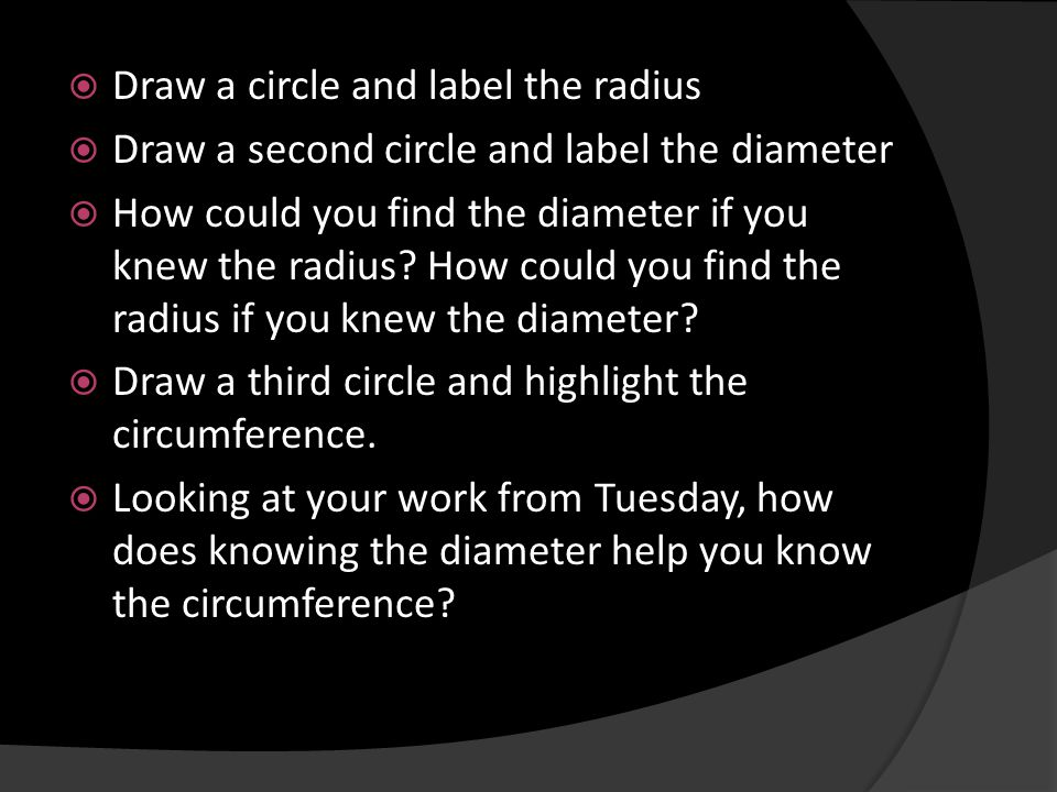 Draw a circle and label the radius