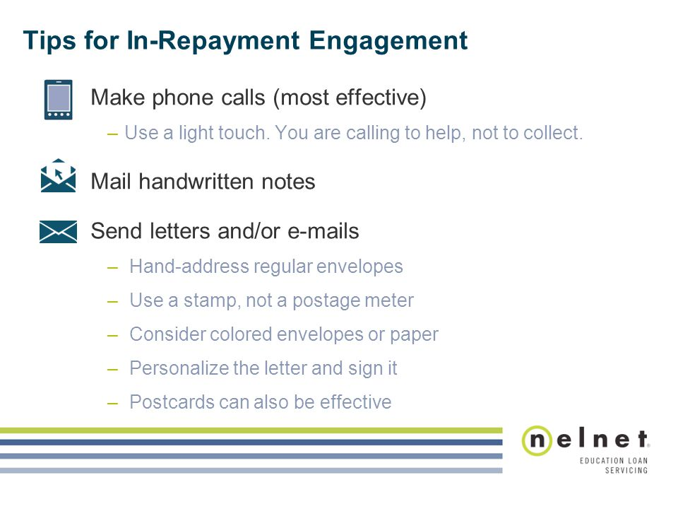 Tips for In-Repayment Engagement