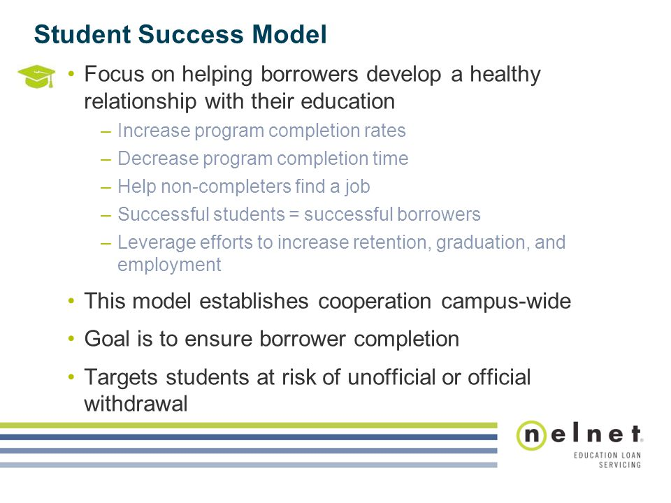 Student Success Model Focus on helping borrowers develop a healthy relationship with their education.