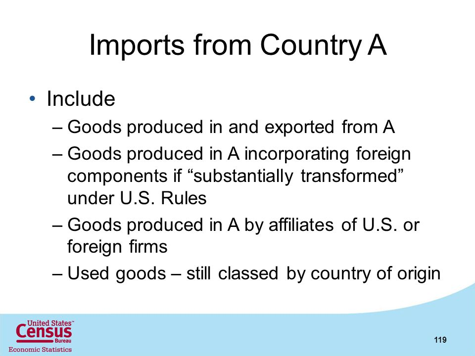 Imports from Country A Include Goods produced in and exported from A