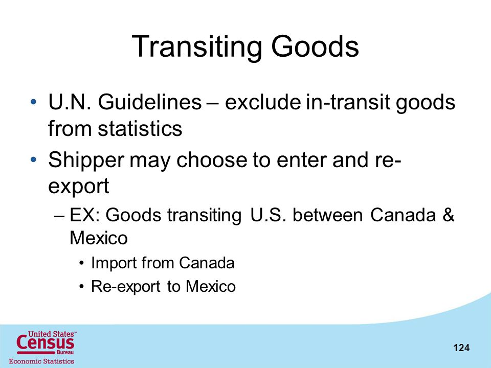Transiting Goods U.N. Guidelines – exclude in-transit goods from statistics. Shipper may choose to enter and re-export.