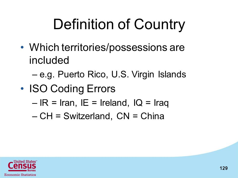 Definition of Country Which territories/possessions are included
