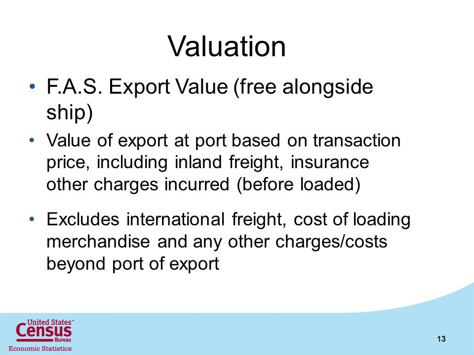 Valuation F.A.S. Export Value (free alongside ship)