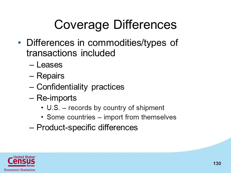 Coverage Differences Differences in commodities/types of transactions included. Leases. Repairs. Confidentiality practices.