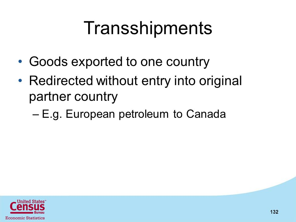 Transshipments Goods exported to one country