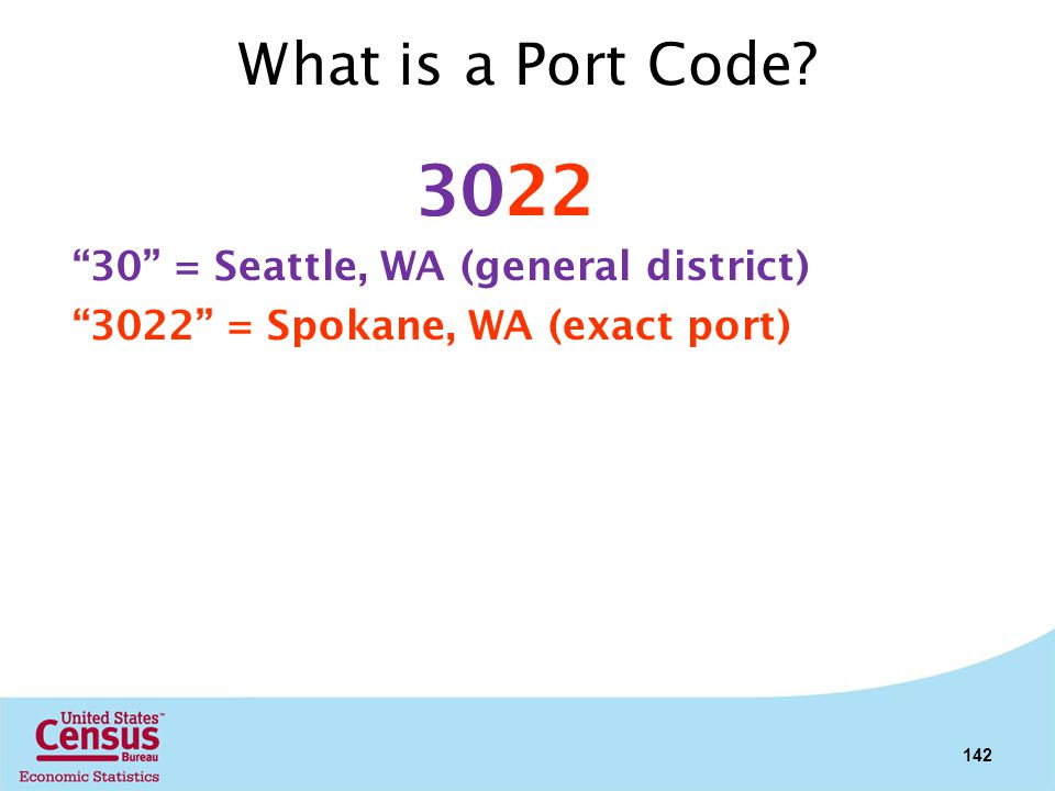 3022 What is a Port Code 30 = Seattle, WA (general district)