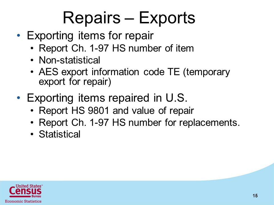 Repairs – Exports Exporting items for repair