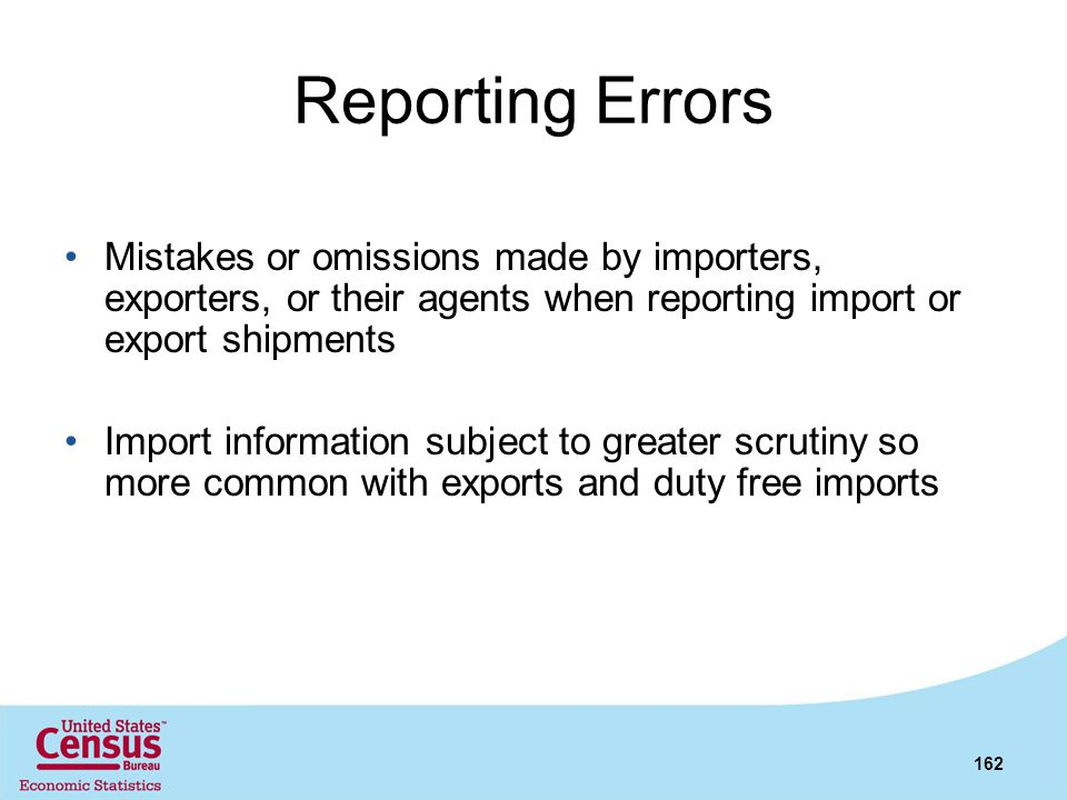 Reporting Errors Mistakes or omissions made by importers, exporters, or their agents when reporting import or export shipments.