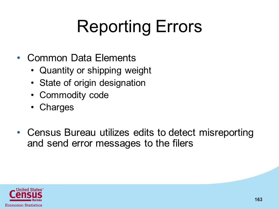 Reporting Errors Common Data Elements