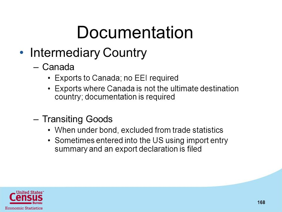 Documentation Intermediary Country Canada Transiting Goods