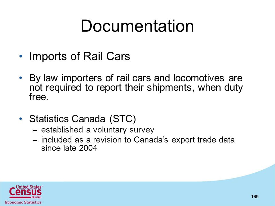 Documentation Imports of Rail Cars
