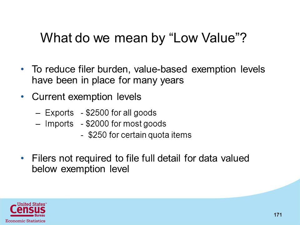 What do we mean by Low Value