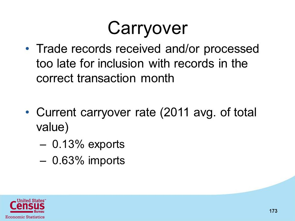 Carryover Trade records received and/or processed too late for inclusion with records in the correct transaction month.