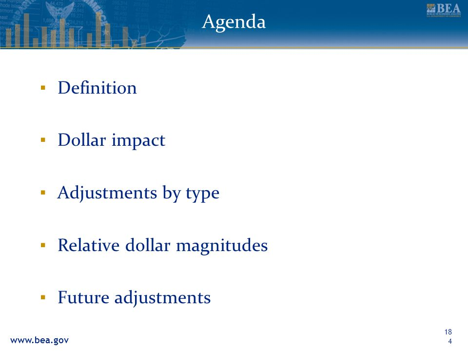 Agenda Definition Dollar impact Adjustments by type