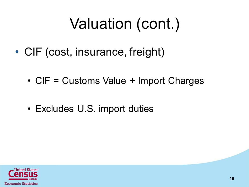 Valuation (cont.) CIF (cost, insurance, freight)