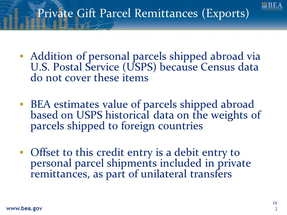 Private Gift Parcel Remittances (Exports)