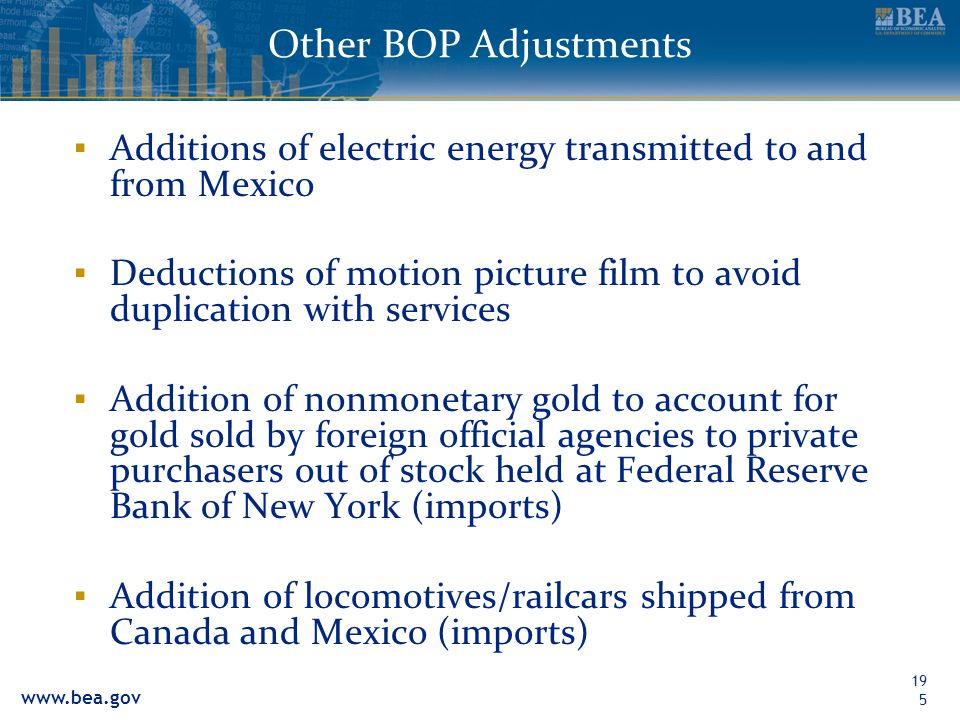 Other BOP Adjustments Additions of electric energy transmitted to and from Mexico.