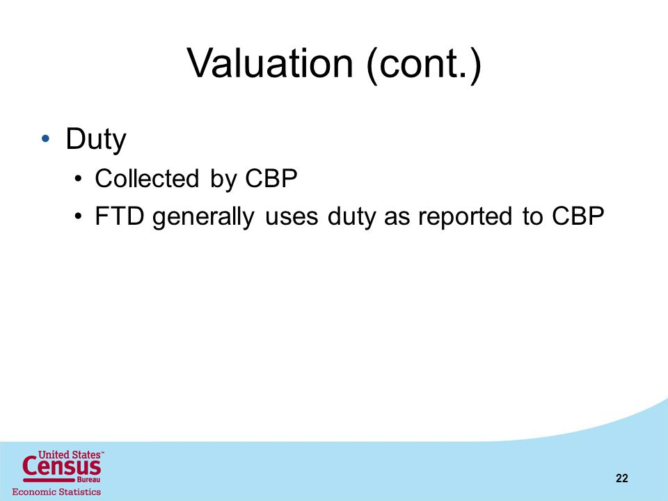 Valuation (cont.) Duty Collected by CBP