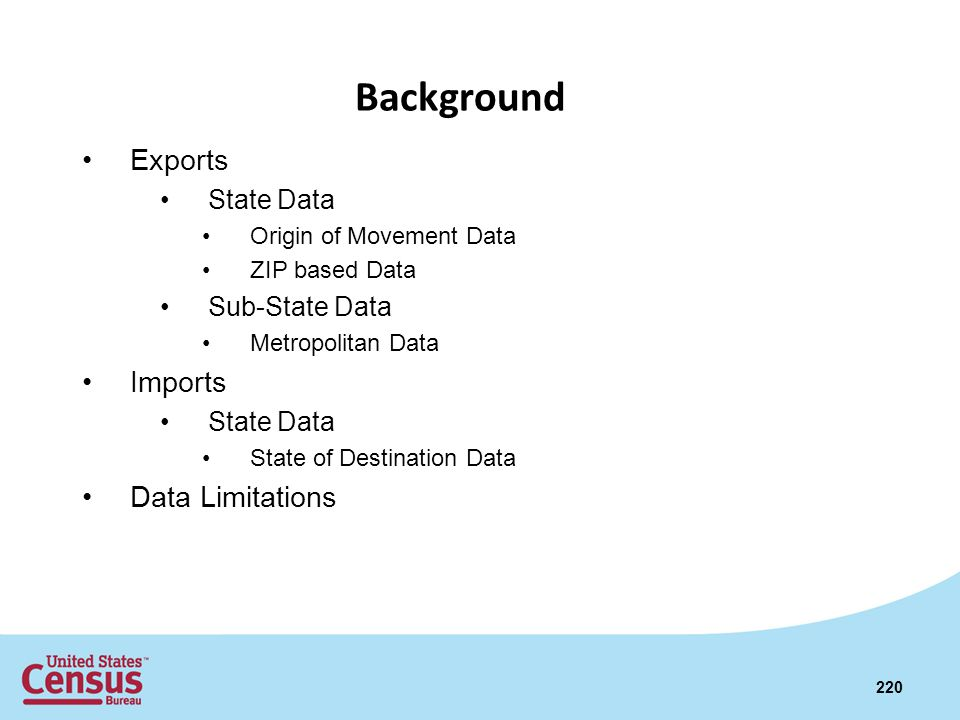 Background Exports Imports Data Limitations State Data Sub-State Data