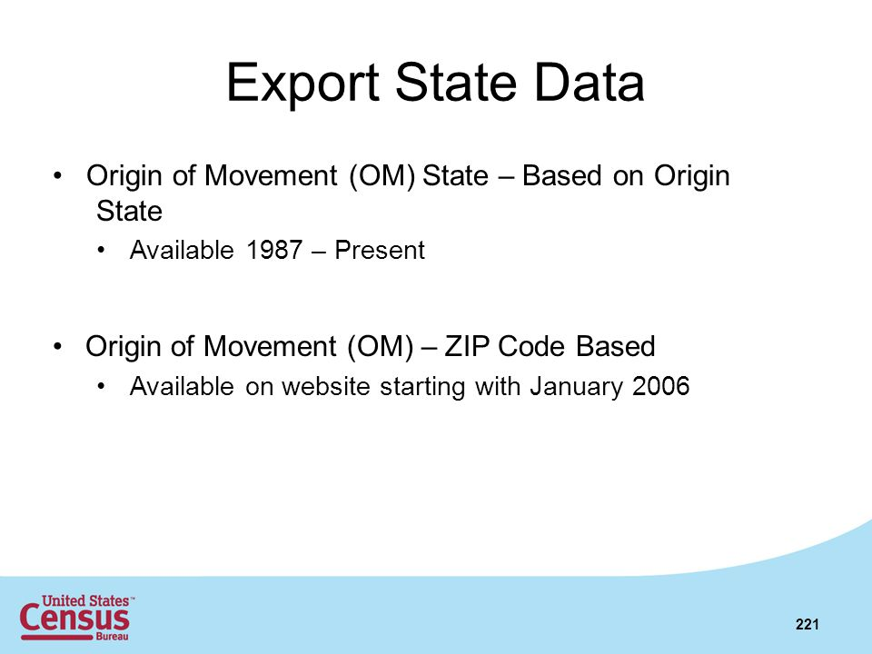 Export State Data Origin of Movement (OM) State – Based on Origin State. Available 1987 – Present.
