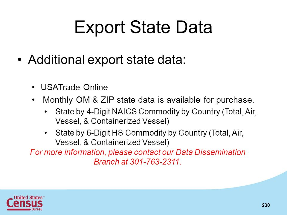 Export State Data Additional export state data: USATrade Online