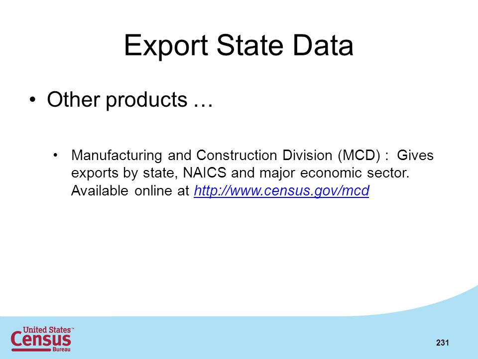 Export State Data Other products …