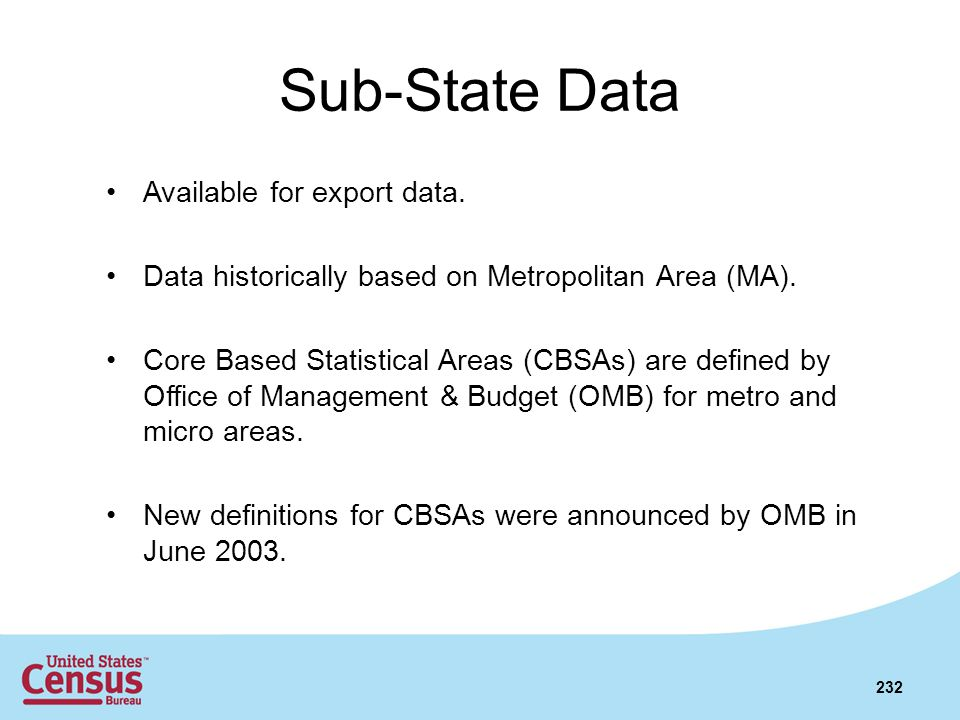 Sub-State Data Available for export data.