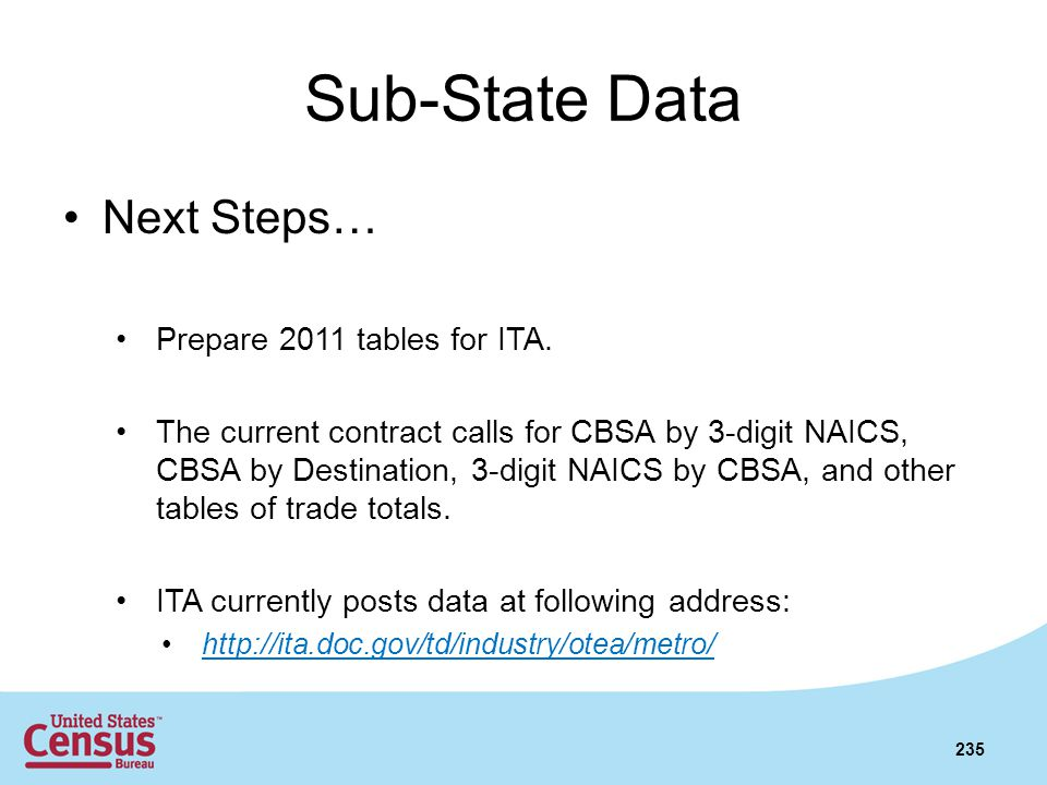 Sub-State Data Next Steps… Prepare 2011 tables for ITA.