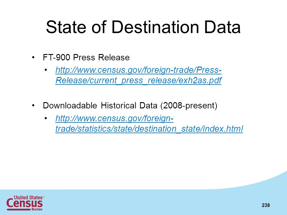 State of Destination Data