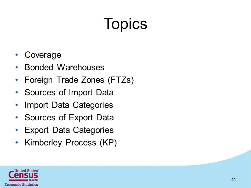 Topics Coverage Bonded Warehouses Foreign Trade Zones (FTZs)