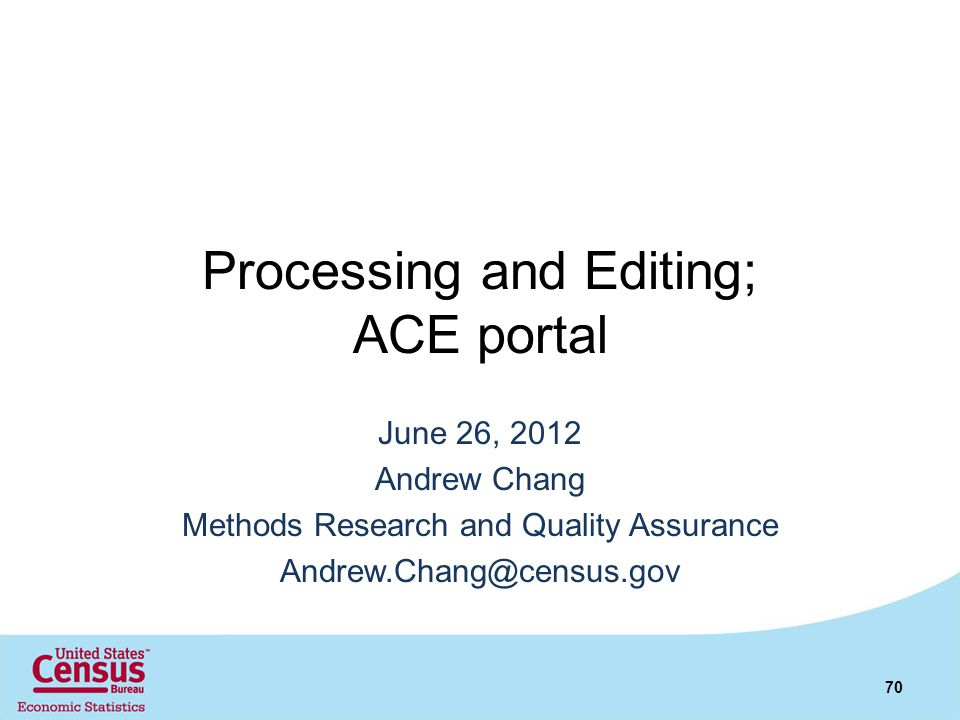 Processing and Editing; ACE portal