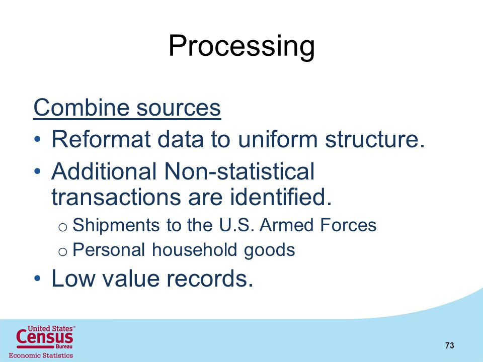 Processing Combine sources Reformat data to uniform structure.