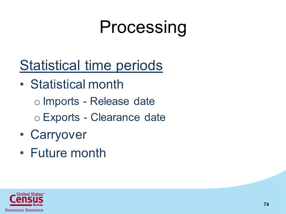 Processing Statistical time periods Statistical month Carryover