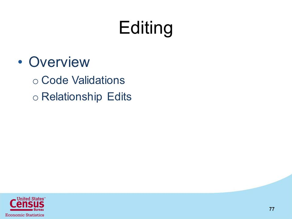 Editing Overview Code Validations Relationship Edits