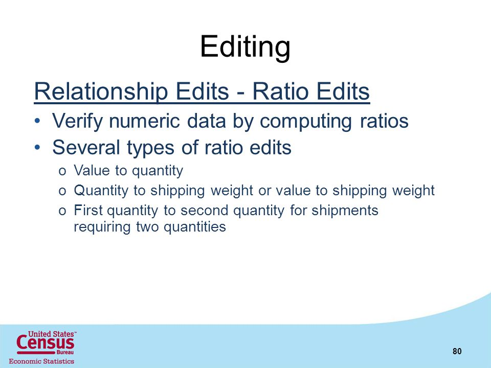 Editing Relationship Edits - Ratio Edits