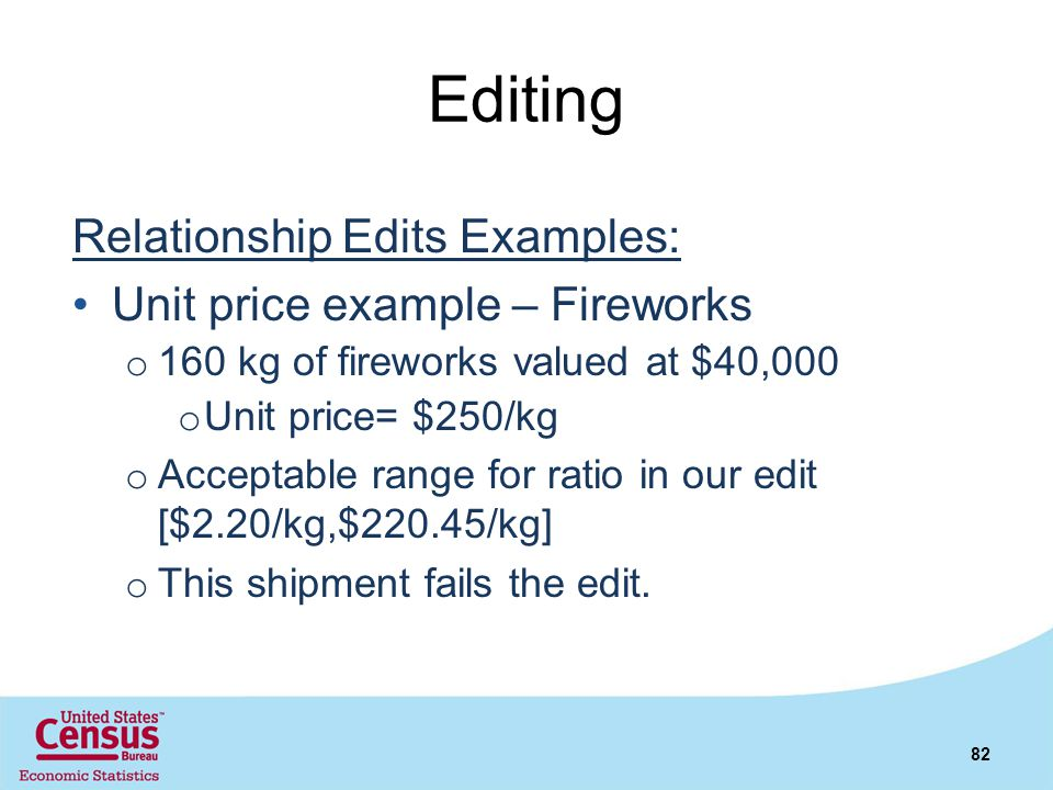 Editing Relationship Edits Examples: Unit price example – Fireworks