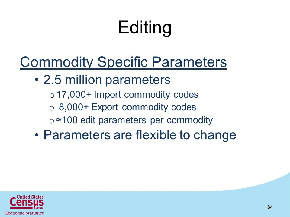 Editing Commodity Specific Parameters 2.5 million parameters