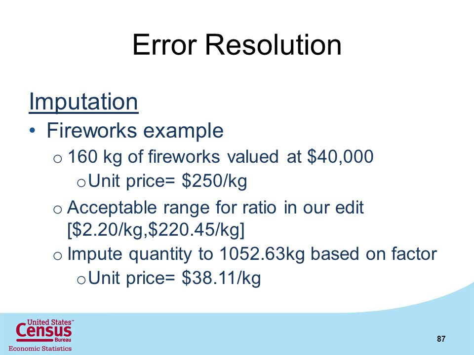 Error Resolution Imputation Fireworks example