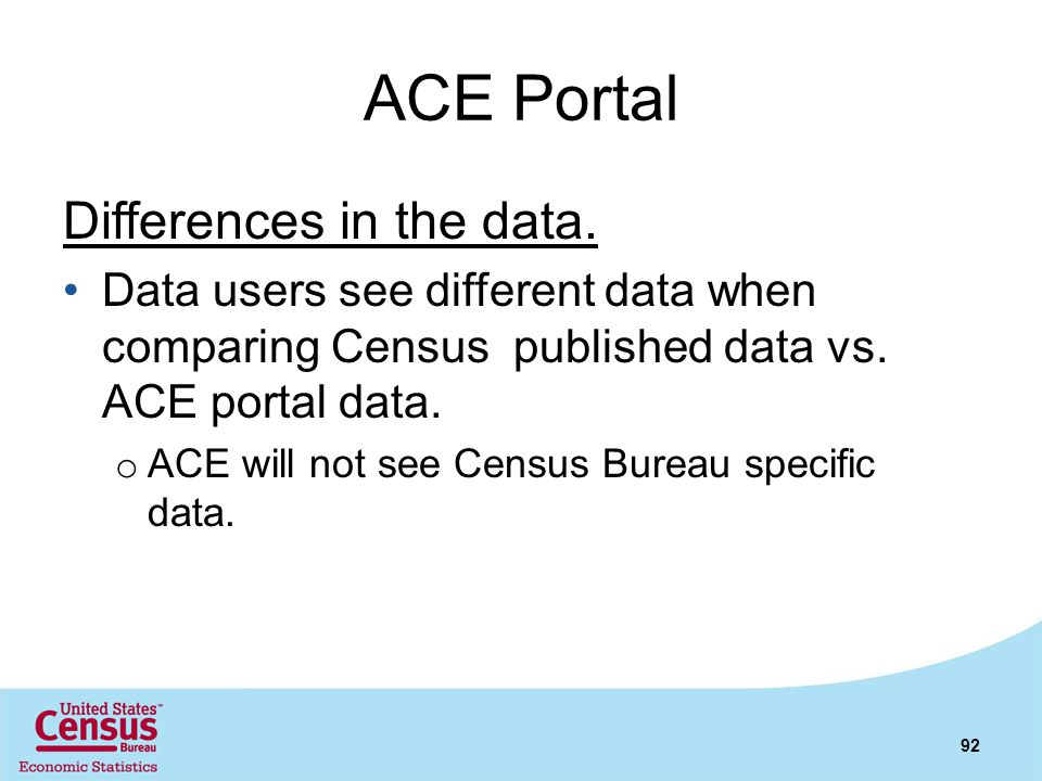 ACE Portal Differences in the data.